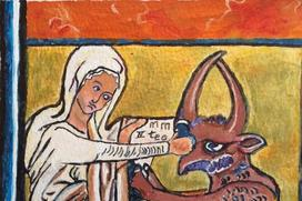 From a painting of my mother in law, Leanor Papai, based on The De Brailes Hours, Oxford ca. 1240 (BL, Add 49999, fol. 40v.) A scene from the life of St Theophilus of Adana, a popular subject in medieval art.