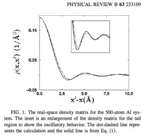 DFT and free electron gas density matrix for Aluminum. http://plato.phy.ohio.edu/~drabold/pubs/79.pdf