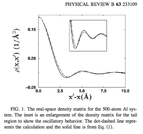DFT and free electron gas density matrix for Aluminum. http://plato.phy.ohio.edu/~drabold/pubs/79.pdf